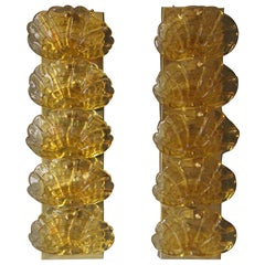 1970s Long Pair of Sconces in Yellow Murano Glass and Brass