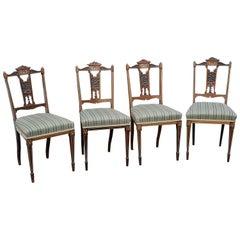 Set of 4 Edwardian Rosewood Salon Chairs