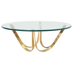 Golden Round Midcentury Coffee Table by Roger Sprunger for Dunbar