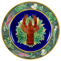 19th Century Wedgwood Aesthetic Majolica Cobalt Blue Lobster Plate