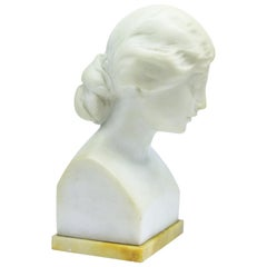 Suteur for Schumacher & Co. Carrara Marble Bust of a Young Woman