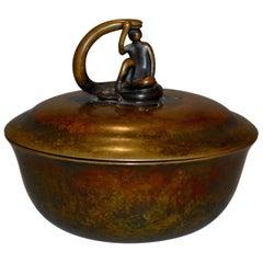 Scandinavian Art Deco Danish Just Andersen Gilt Bronze Bowl Bonboniere, 1930