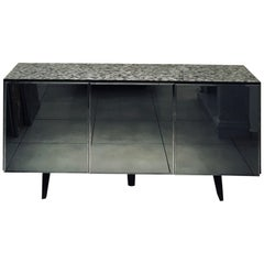 'Madrid' Mother of Pearl Sideboard Table with Grey Mirror Finish Doors