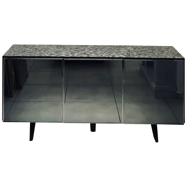 'Madrid' Mother of Pearl Sideboard Table with Grey Mirror Finish Doors For Sale