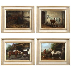 Set of Four Hungarian School Oils on Panel of Horses 'Hungary, 20th Century'