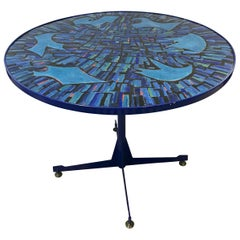 Tall Blue Italian Midcentury Dining Table with Enameled Copper Top, 1950s