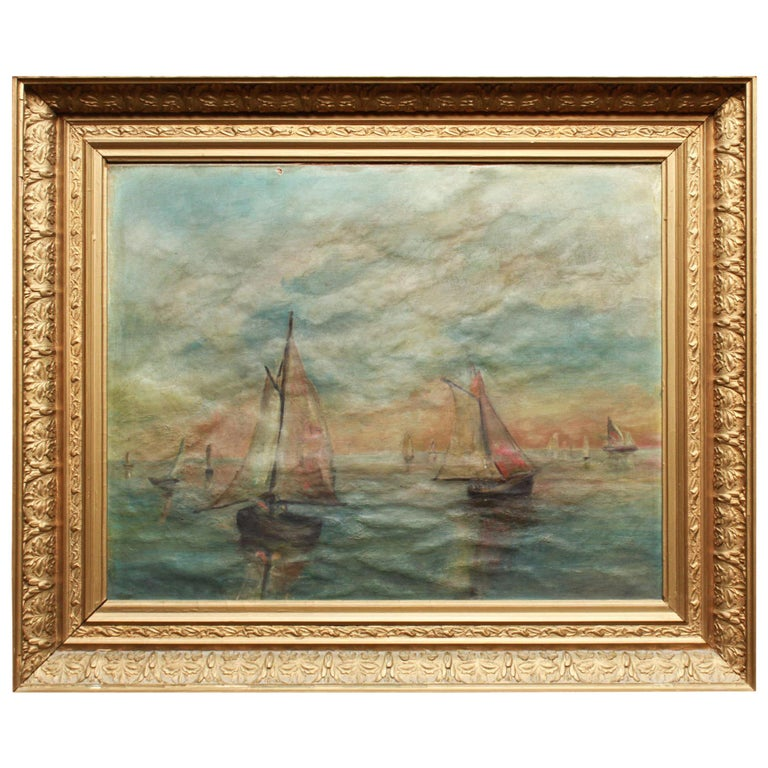 Impressionist Style Seascape Oil On Canvas Painting For Sale