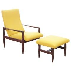 Mid-Century Modern Scandinavian Recliner Chair and Footstool
