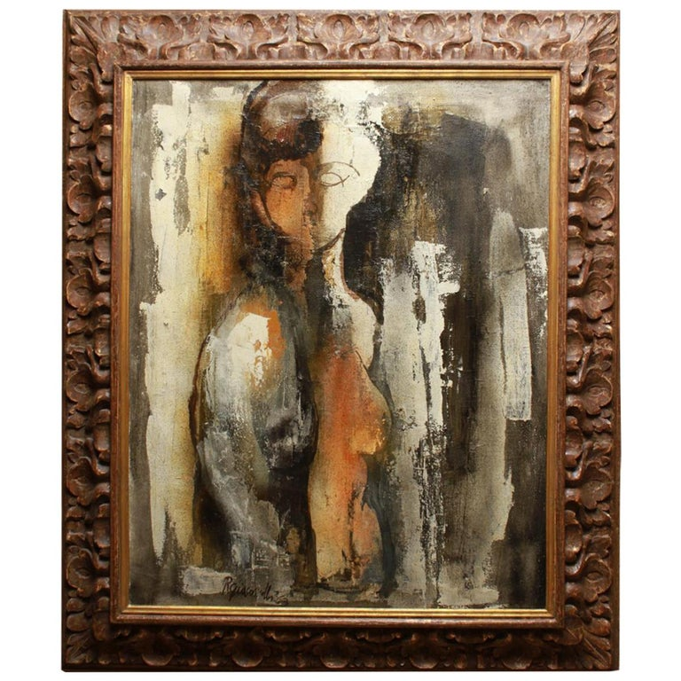 Italian Modernist Rino Giacomelli Oil Painting of a Nude Woman For Sale