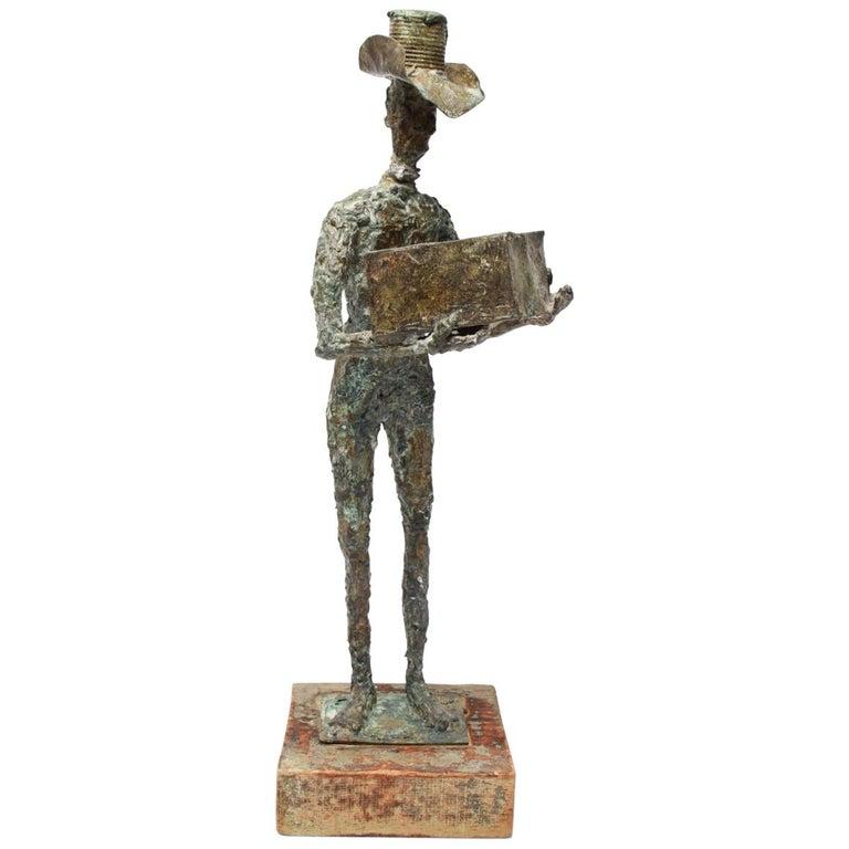 Mid-Century Modern Brutalist Bronze Cowboy Sculpture For Sale
