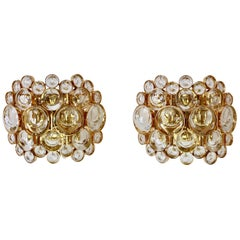 Stunning Pair of German Mid-Century Crystal Glass Wall Lights / Sconces by Palwa