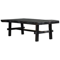 Contemporary Torii Slab Coffee Table in Burnt Cedar and Polished Brass