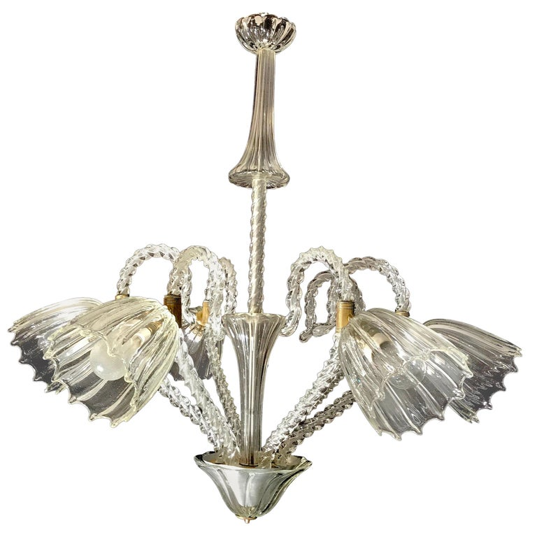 Liberty Chandelier by Ercole Barovier Murano, 1940s