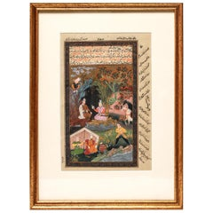 Illuminated Persian Manuscript Miniature with Shahnameh Scene