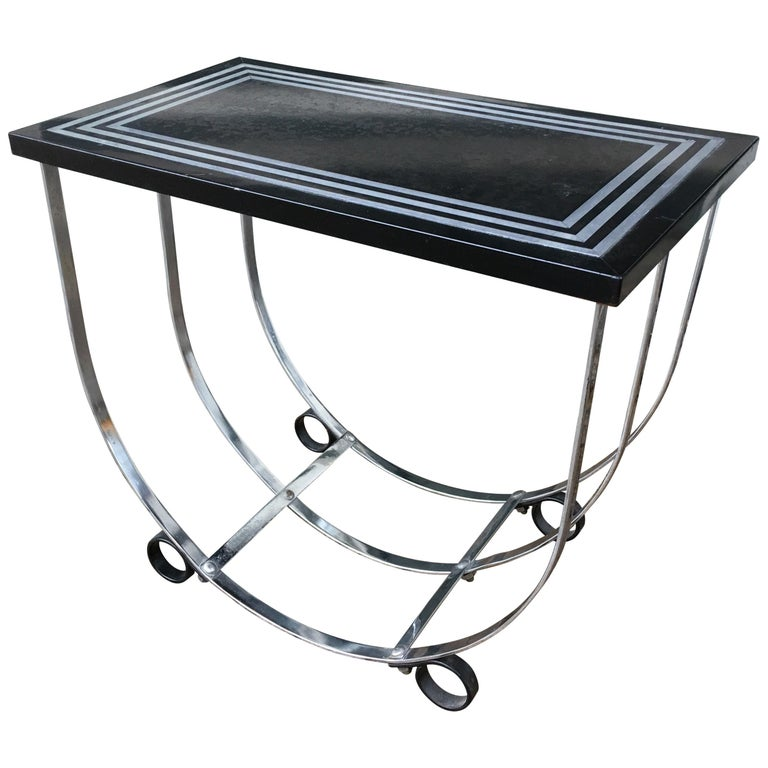 Deco McKay Side Table with Inlaid Aluminum Top by McKay Furniture Corp. For Sale