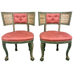 Antique French Faux Hand Painted Malachite Pink and Green Chairs