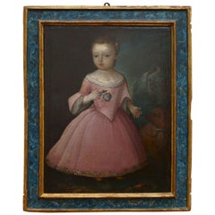16th Century, Italian Big Painting, Portrait, Oil on Canvas, Girl with Dog