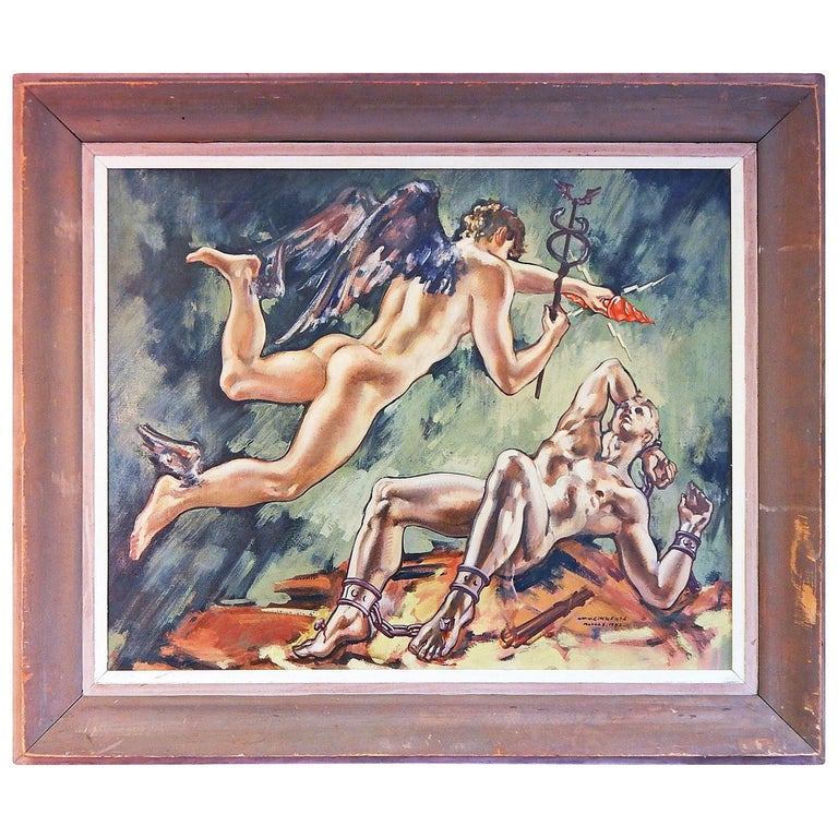 """Prometheus and Mercury,"" Large, Rare Art Deco Painting with Male Nudes, 1942 For Sale"