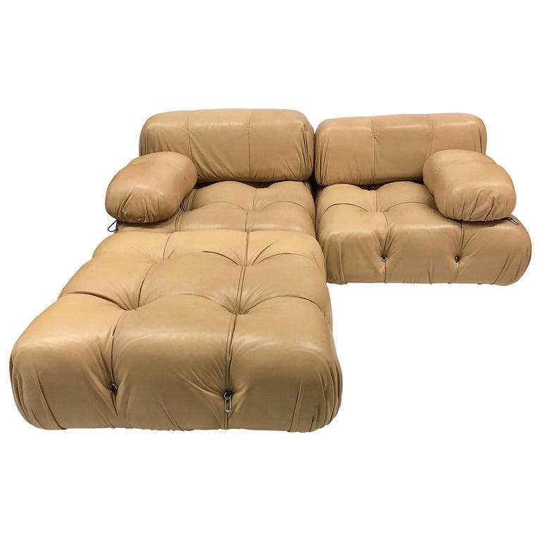 B&B Italia Camaleonda Mario Bellini All Leather Modular Sectional Sofa 3 Pieces