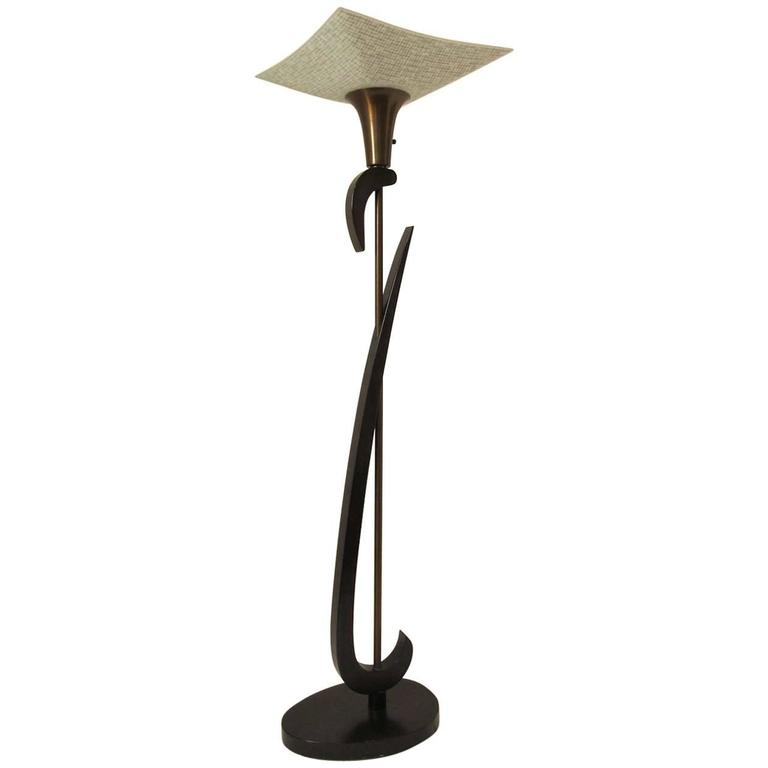Mid-Century Floor Lamp with Black Lacquer Finish For Sale