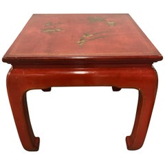 Mid-Century Modern Chinese Red Lacquer End Table Mont Style
