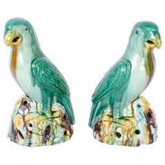 Pair of Glazed Terracotta or Sancai Parrots