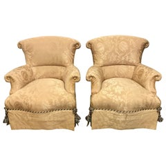 Pair of Baker Furniture Gold Damask Wingbacks Armchairs