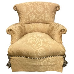 Baker Furniture Damask Skirted Wingback Chair