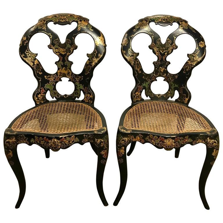 Pair of Antique Black Japanned Japan Cane Chairs Seats For Sale - Pair Of Antique Black Japanned Japan Cane Chairs Seats For Sale At