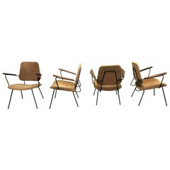 Vintage Industrial Lounge Chairs, 1950s, Set of 4