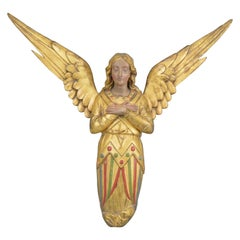 Gilt and Painted Carved Wooden Angel Wall-Sculpture, 19th Century