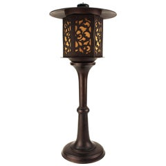 Japanese Meiji Period Bronze Lantern Table Lamp