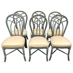 Vintage Signed McGuire Furniture Bamboo Dining Chairs Set of Six