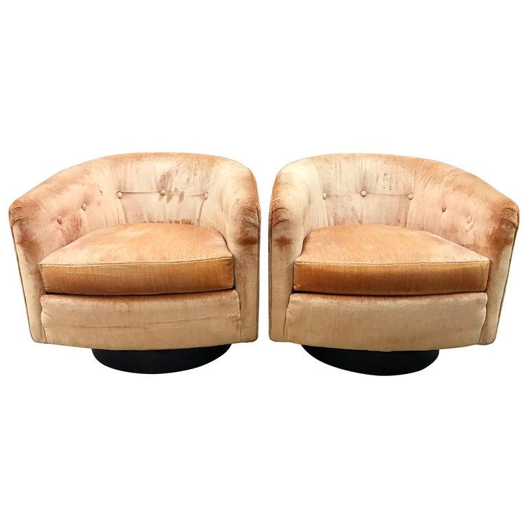 Mid-Century Modern Milo Baughman Peach Velvet Swivel Barrel Back Chairs