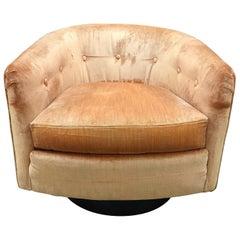 Mid-Century Modern Milo Baughman Style Swivel Barrel Back Chair