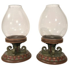 Pair of Arts & Crafts Hurricane Lamps