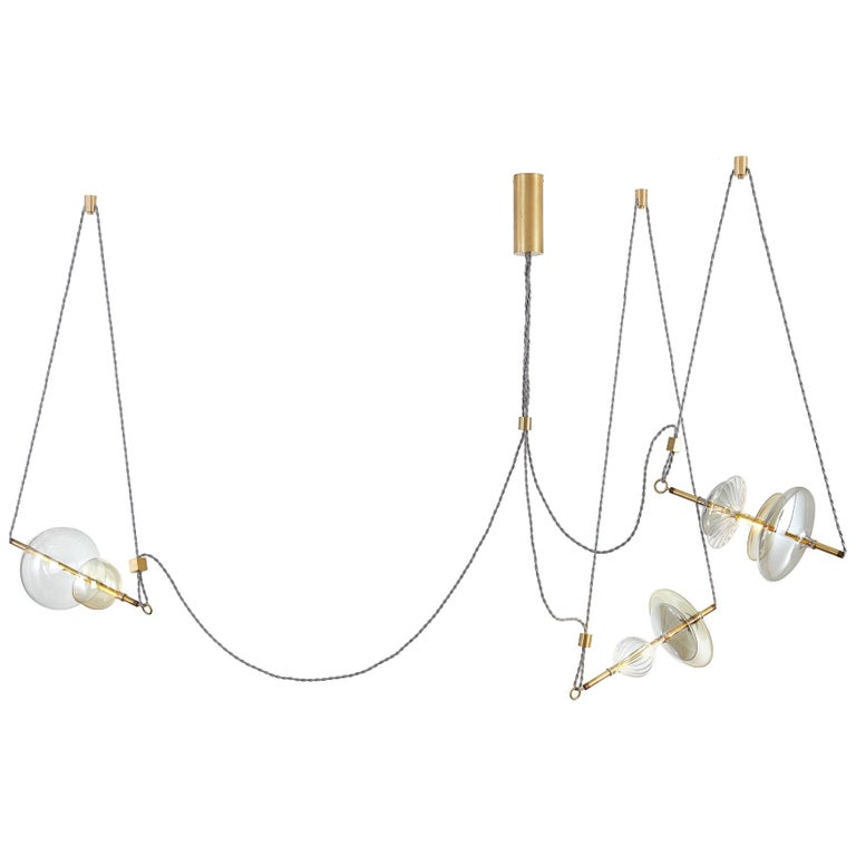 Trapezi Three Lights Contemporary Pendant/Chandelier Lustro-Painted Blown Glass For Sale
