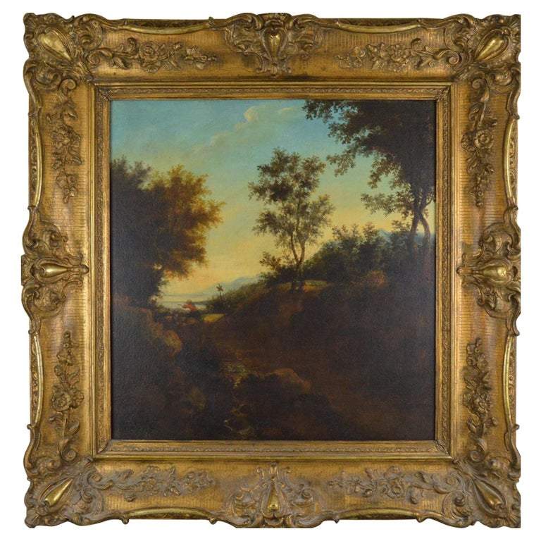 Landscape with Figures Painting Flemish School, 18th Century For Sale