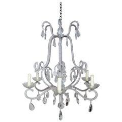 Six-Light Italian Style Beaded Crystal Chandelier