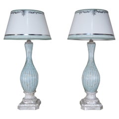 Rare Aquamarine Murano Lamps with Custom Parchment Shades, Pair