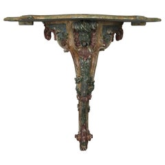 French Painted Carved Console with Serpentine Shaped Top