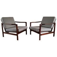 Midcentury Lounge Armchairs Set in Grey Linen, Zenon Bączyk, 1960s