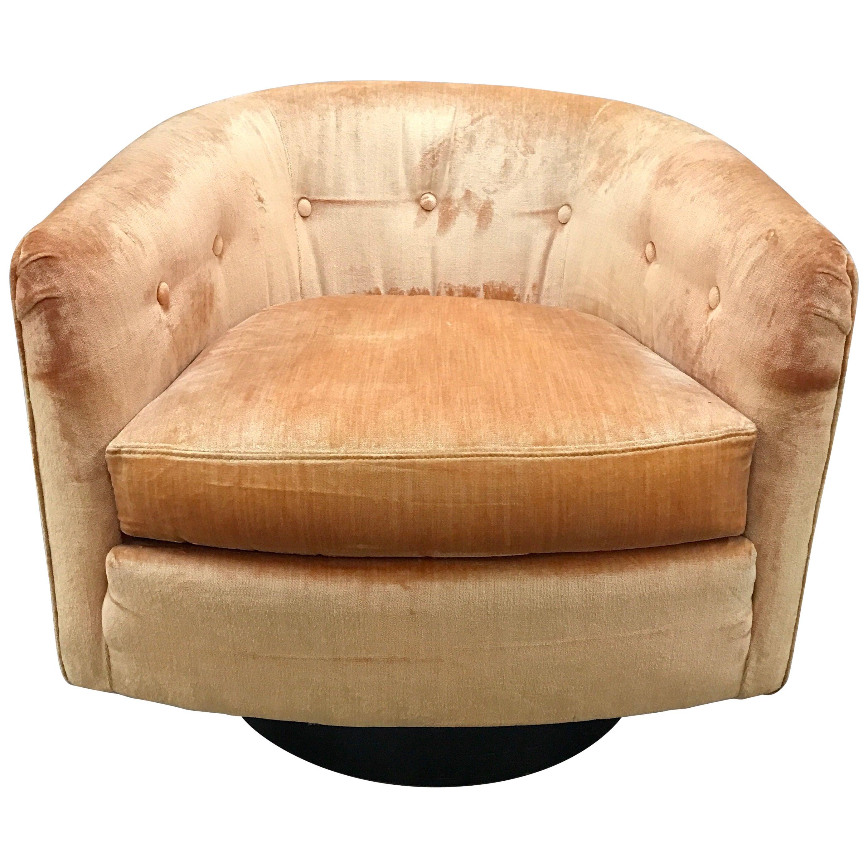 Set of Three Matching Midcentury Milo Baughman Style Swivel Barrel Back Chairs