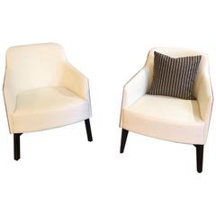 Set of 2 Marlene White Genuine Leather Lounge Chairs