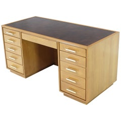 Blond Mahogany Leather Top Square  Brass Pulls File Drawer Executive Desk