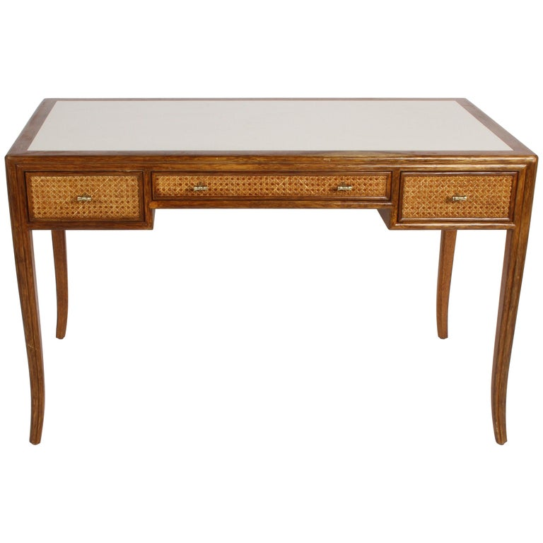 1970s McGuire Furniture Rattan and Caned Desk For Sale