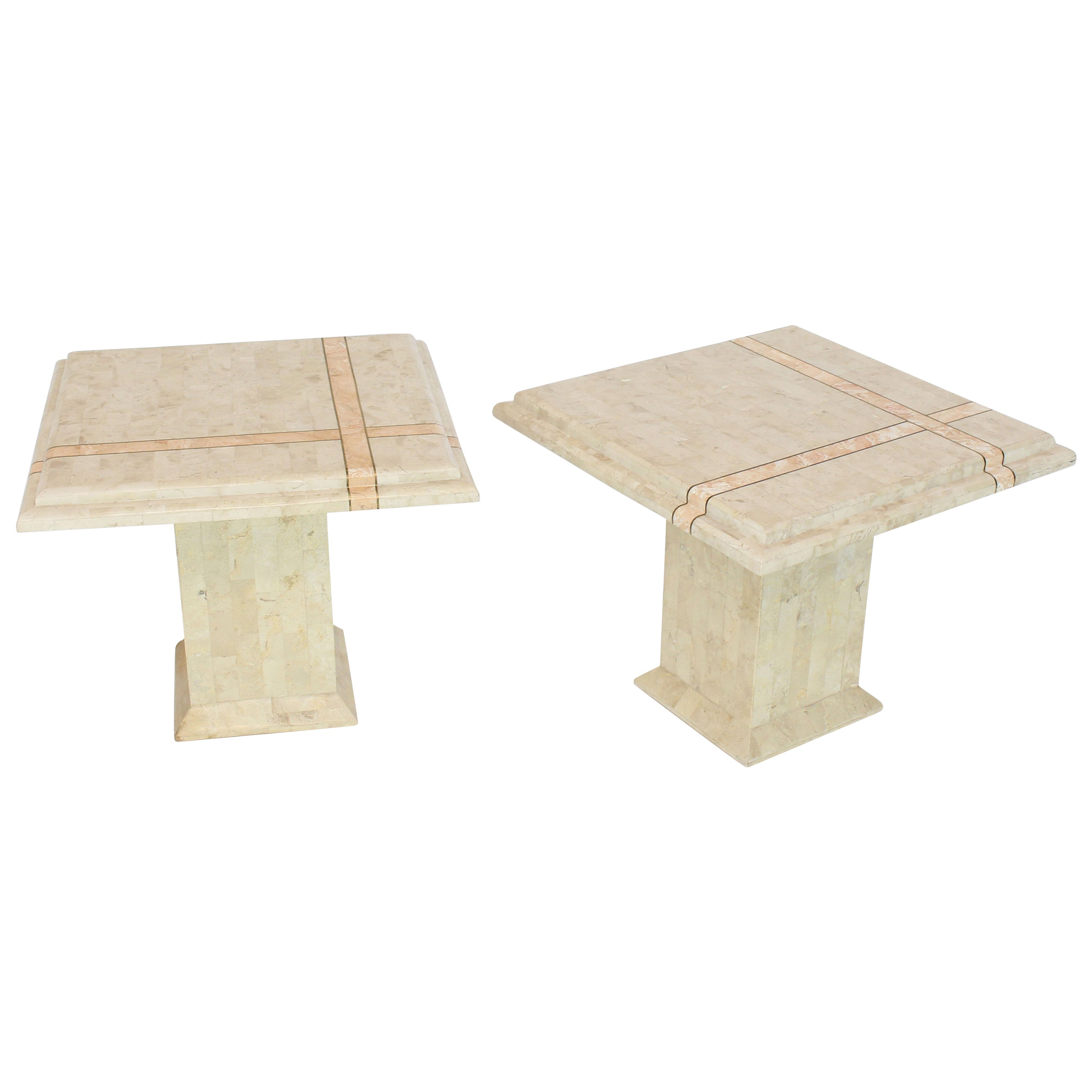 Pair of Tessellated Stone Tile Square Pedestal Shape End Side Tables Stands