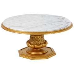 Francisco Hurtado Marble and Giltwood Coffee Table, Spain, circa 1950
