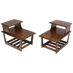 Pair of Walnut Step End Side Step Tables