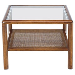 Square Solid Walnut Frame Cane Magazine Shelf Occasional Side Table